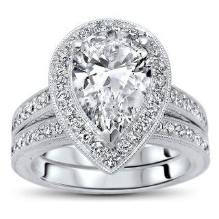 Noori 14k White Gold 1 4/5ct TGW Pear Moissanite and 3/4ct TDW Diamond Bridal Set (G-H, SI1-SI2)