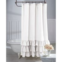 Veratex Grand Luxe Vintage Beige Linen Ruffle Shower Curtain