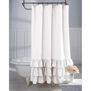 Elegant Veratex Grand Luxe Vintage Beige Linen Ruffle Shower Curtain