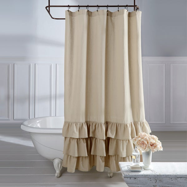 Shop Veratex Grand Luxe Vintage Beige Linen Ruffle Shower Curtain
