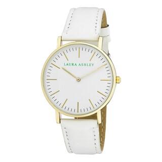 Laura Ashley Ladies' White Band Yellow Gold Ultra-thin Case Watch