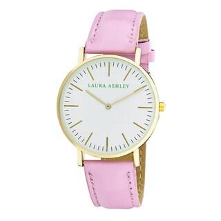 Laura Ashley Women's Pink Band Yellow Gold Ultra-thin Case Watch