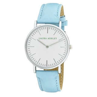 Laura Ashley Women's Blue Band Silver Ultra-thin Case Watch