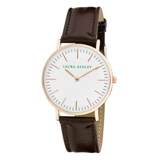 Laura Ashley Women's Rose Gold Brown Band Ultra-thin Case Watch