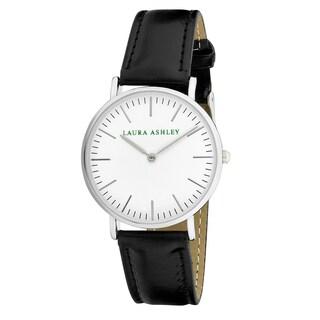 Laura Ashley Ladies' Black Band Silver Ultra-thin Case Watch