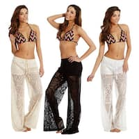 Women's Cover-up Front Tie Crochet Pants Beach Swimwear Swimsuit
