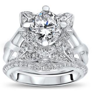 Noori 14k White Gold 2 3/4 TGW Round Moissanite Lotus Flower Diamond Engagement Ring Bridal Set (G-H, SI1-SI2)