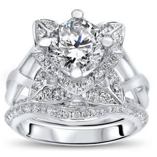 Noori 14k White Gold 2 3/4 TGW Round Moissanite Lotus Flower Diamond Engagement Ring Bridal Set (G-H, SI1-SI2) https://ak1.ostkcdn.com/images/products/14172539/P20771722.jpg?impolicy=medium