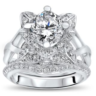 Noori 14k White Gold 2 3/4 TGW Round Moissanite Lotus Flower Diamond Engagement Ring Bridal Set (G-H, SI1-SI2)