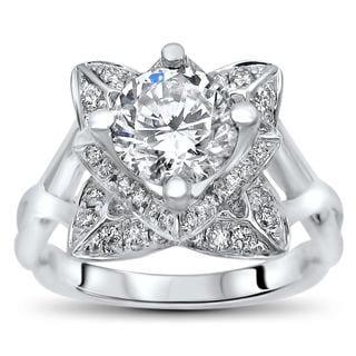 Noori 14k White Gold 2ct TGW Round Moissanite Lotus Flower and 2/5ct TDW Diamond Engagement Ring (G-H, SI1-SI2)