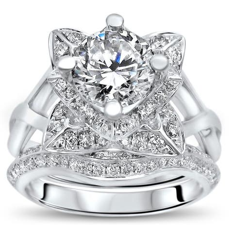 14k White Gold 1ct TGW Moissanite Lotus Flower and 3/4ct TDW Diamond Bridal Set (G-H, SI1-SI2)