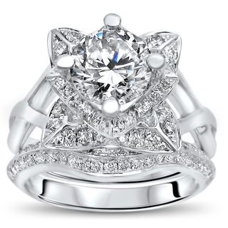 Noori 14k White Gold 1ct TGW Moissanite Lotus Flower and 3/4ct TDW Diamond Bridal Set (G-H, SI1-SI2)