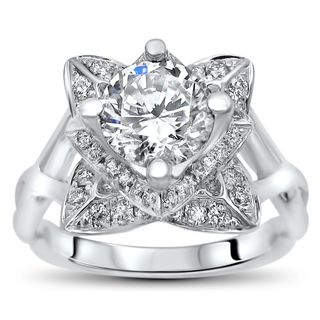 14k White Gold 1ct TGW Round Moissanite Lotus Flower and 2/5ct TDW Diamond Engagement Ring (G-H, SI1-SI2)