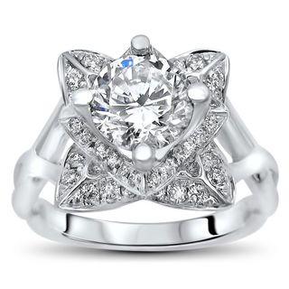 Noori 14k White Gold 1ct TGW Round Moissanite Lotus Flower and 2/5ct TDW Diamond Engagement Ring (G-H, SI1-SI2)