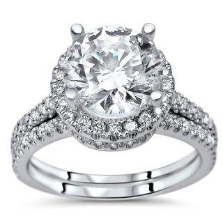Noori 14k White Gold 2ct TGW Round Moissanite and 1/2ct TDW Diamond Bridal Set (G-H, SI1-SI2)