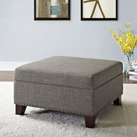 Avenue Greene Farah Linen Square Storage Ottoman with Nailheads