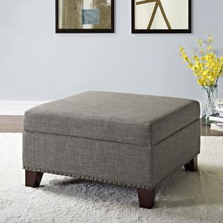Dorel Living Tyden Linen Square Ottoman with Nailheads