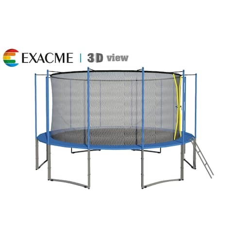15FT 6W Legs Trampoline w/ safety pad & Enclosure Net & ladder COMBO