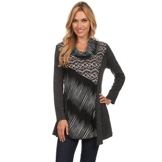 High Secret Women's Grey and Black Patchwork Long-sleeved Cowl-neck Tunic Top (2 options available)