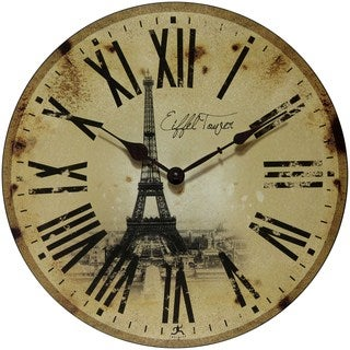 Infinity Instruments Eiffel Tower 13.5-inch Round Indoor Wall Clock