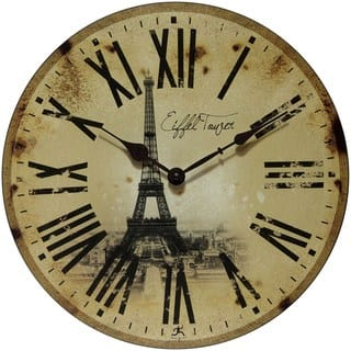 Infinity Instruments Eiffel Tower 13.5-inch Round Indoor Wall Clock|https://ak1.ostkcdn.com/images/products/14172708/P20771848.jpg?impolicy=medium