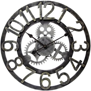 Infinity Instruments Raised Number Gear 23.75-inch Round Indoor Wall Clock