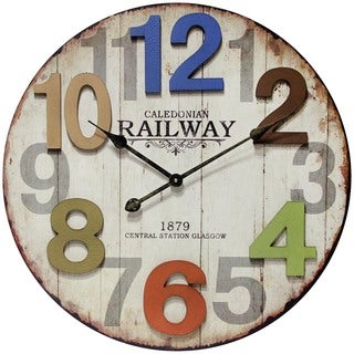 Infinity Instruments Multicolor Wood and Aluminum 23.75-inch Round Indoor Weathered Finish Wall Clock