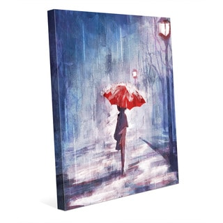 'A Rainy Walk' Canvas Wall Art Print