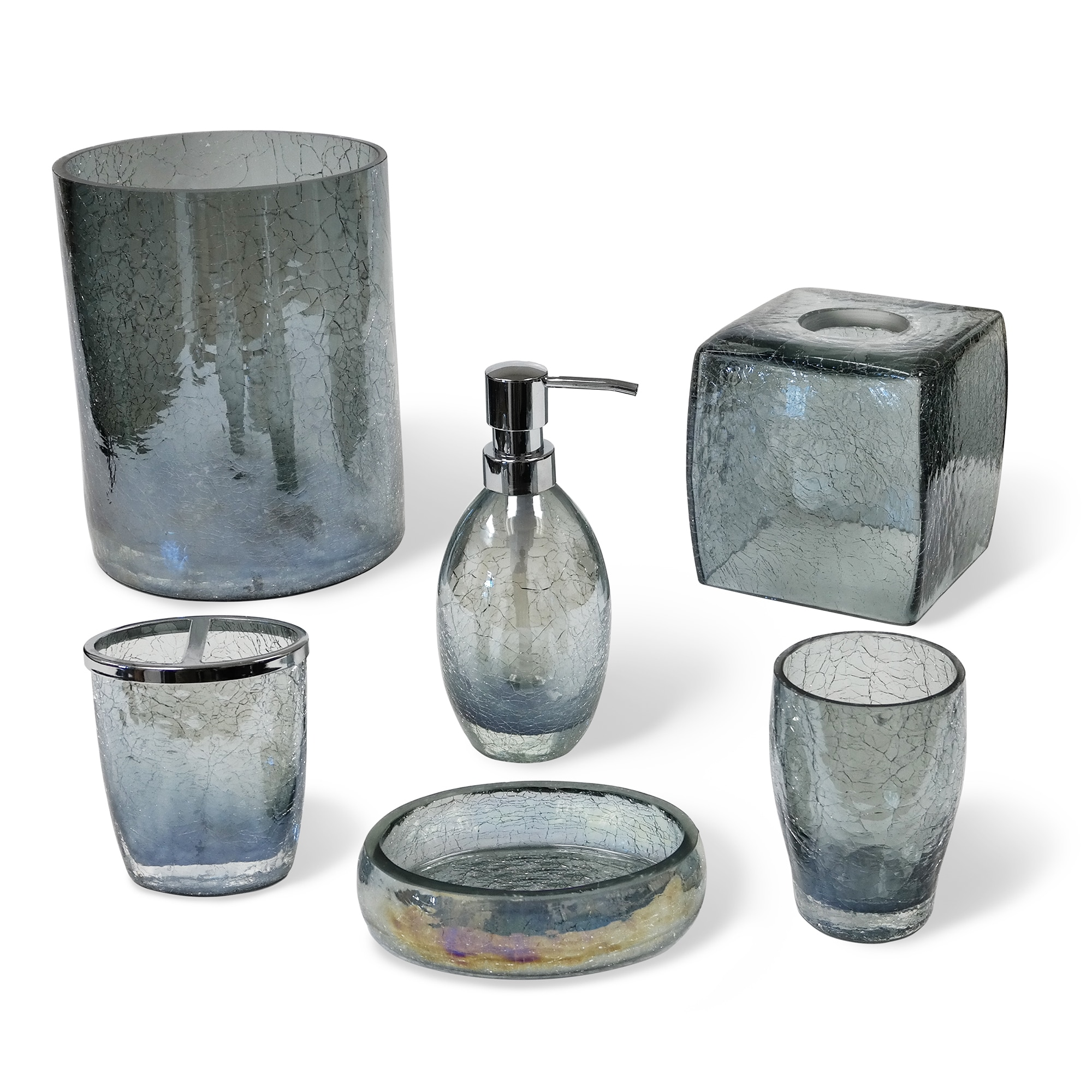 Veratex Cracked Blue Glass Bathroom Accessories Collection Tissue ...