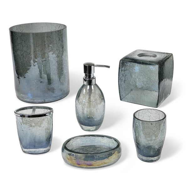 Veratex Cracked Blue Glass Bathroom Accessories Collection Free