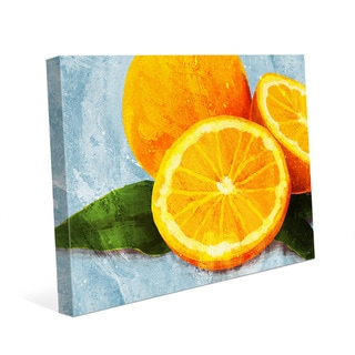 'Painted Oranges on Blue' Canvas Wall Art Print