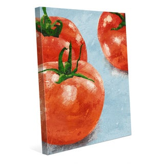 'Painted Tomatoes on Blue' Canvas Wall Art Print