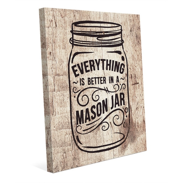 'Better in a Mason Jar Wood' Canvas Wall Art
