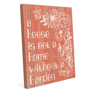 'Home With A Garden' Red Canvas Wall Art