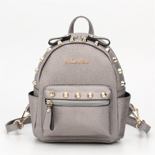 Hearty Trendy BR Series Metallic Studded Mini Backpack (Option: Silver)