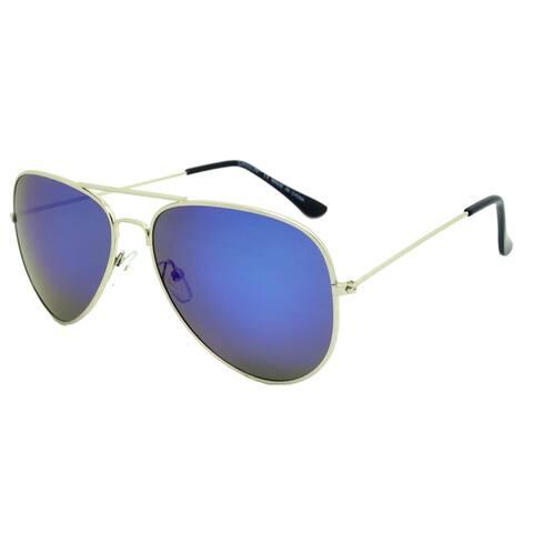 Dasein Fashion Flat Mirrored Lens Metal Arm Aviator Sunglasses