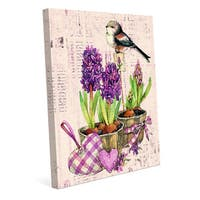 Bird and Garden Flowers Violet Canvas Wall Art