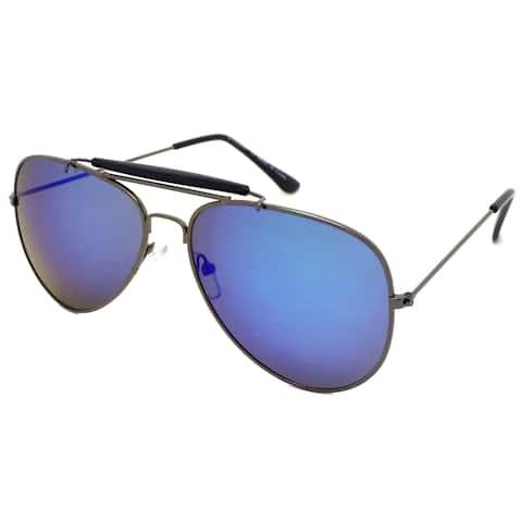 Dasein Double Bridge Flat Mirror Polarized Lenses Metal Arm Aviator Sunglasses