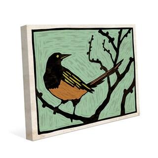 'Bird Wood Block Green' Canvas Wall Art