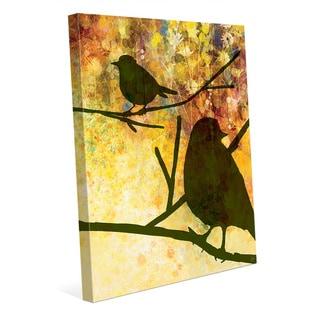 Spring Olive Birds Canvas Wall Art Print