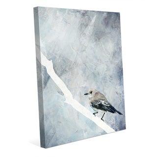 'Painted Flycatcher Bird on Blue' Canvas Wall Art