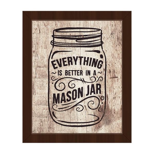 'Better in a Mason Jar' Wood-framed Canvas Wall Art
