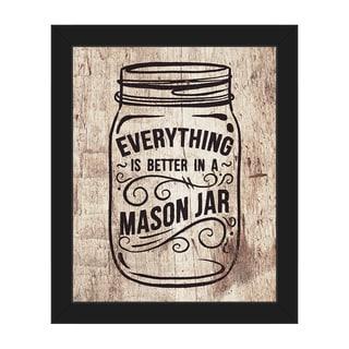 'Better in a Mason Jar' Framed Canvas Wall Art