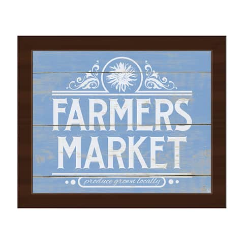 'Farmers Market Sign Blue' Framed Canvas Wall Art