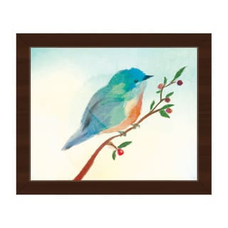 'Turquoise Tinted Bird' Framed Canvas Wall Art
