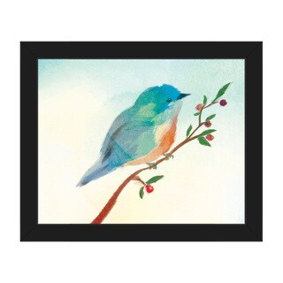 'Turquoise Tinted Bird' Framed Canvas Wall Art Print