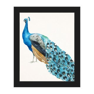 'Peacock on Paper' Framed Canvas Wall Art