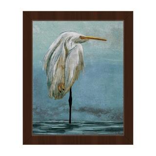 'Lonely Crane Blue' Framed Canvas Wall Art Print