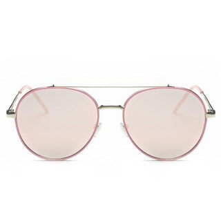 Dasein Flat Mirrored Lens Metal Arm Aviator Sunglasses