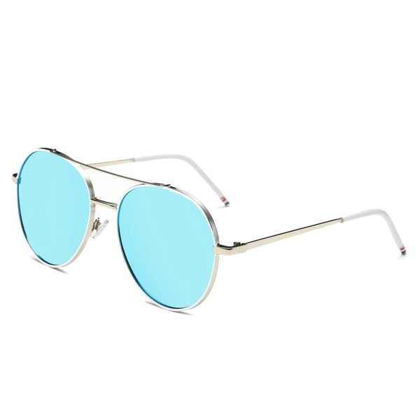 Dasein Flat Mirrored Lens Metal Arm Aviator Sunglasses